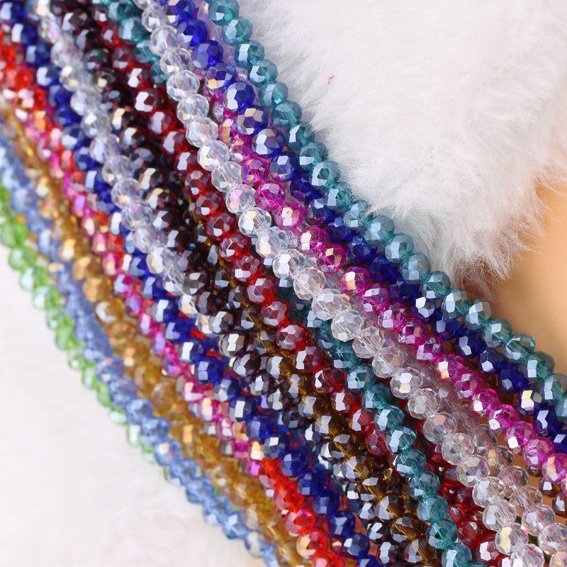 AB Multicolore Abacus Crystal Verre Perles Lâche Collier Faced Collier Bracelet Couleurs Bijoux