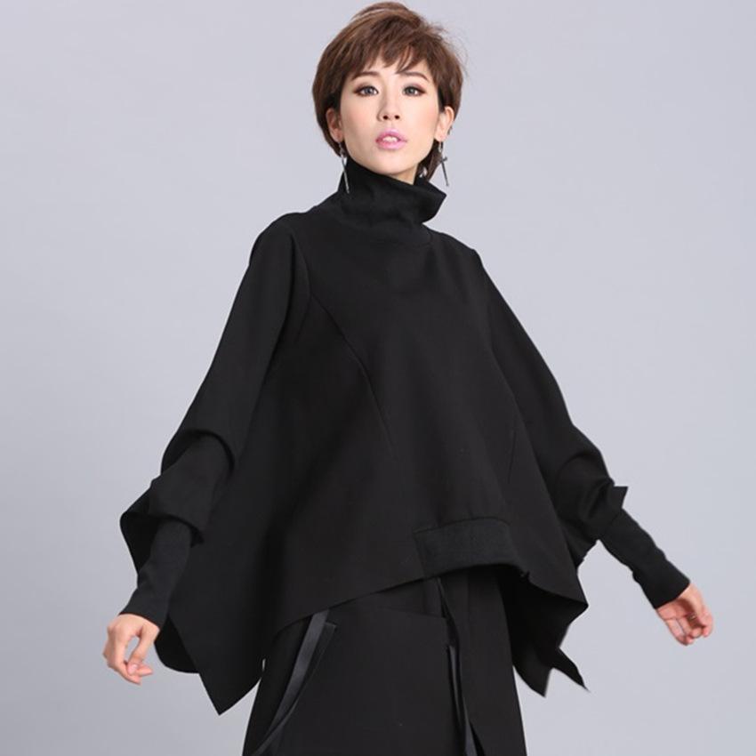[EAM] Loose Fit Black Asymmetrical Oversized Sweatshirt New Turtleneck Long Sleeve Women Big Size Fashion Tide Spring 200928