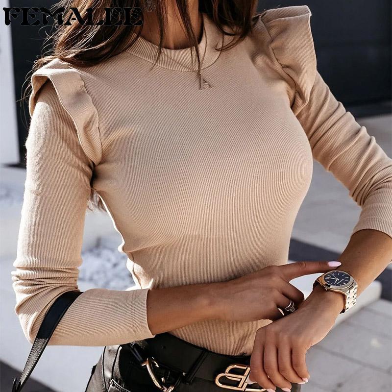 الأكمام الأزياء femalee طويلة الأعلى الكشكشة طوق 2021 الشتاء محبوك قاعدة جولة الملابس البلوفرات قميص bodycon تريكو mxsqx