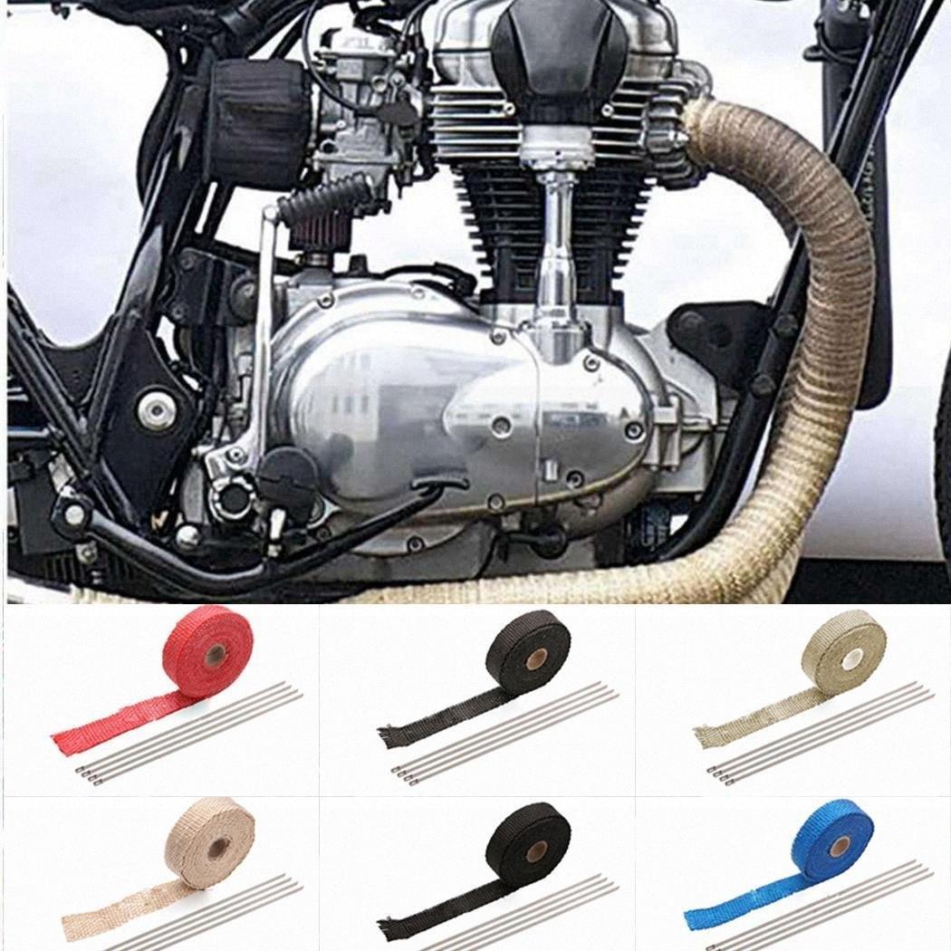Scarico Generale Auto Moto calore Wrap acciaio per le vetture, moto, ecc Roll con acciaio Cravatte Z2zY #