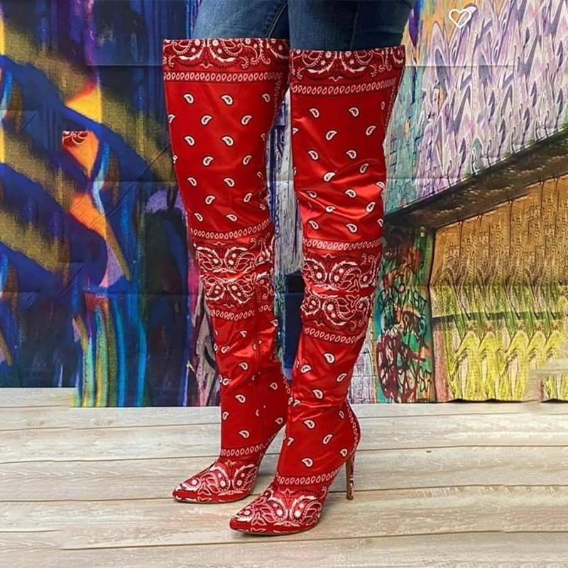 La hembra en la rodilla bandana graffiti tacones sexy botas y monedero conjunto de mujer 2021 Z95M