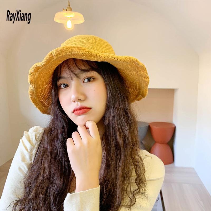 Couleur massif tricoté chapeau de bassin femelle Soleil écran solaire chapeaux de chapeau de pêcheur Seau aux femmes Seau respirant