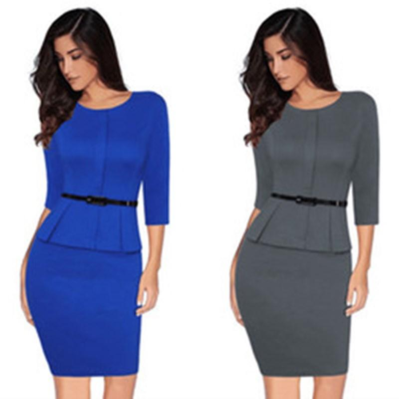 Primavera New Style O-Neck elegante escritório Senhoras vestido cintos Pure Color Joelho de comprimento Negócios Vestido justo Bodycon