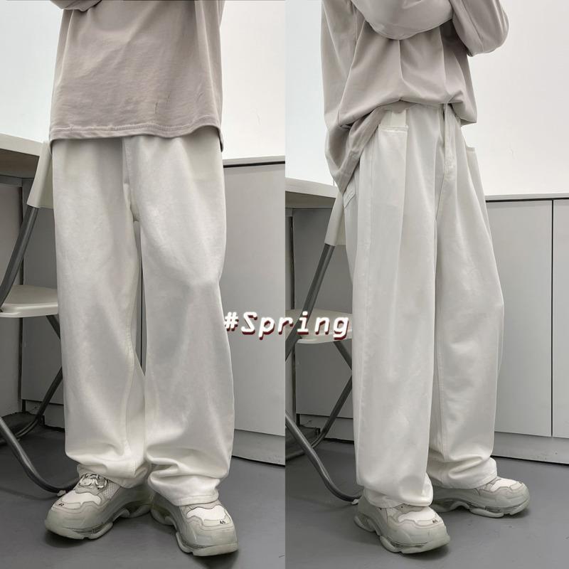 الرجال جينز الربيع واسعة الساق الرجال الأزياء الرجعية عارضة الرجال الشارع الشهير الكورية فضفاض الهيب هوب مستقيم الدينيم السراويل رجل XS-XL