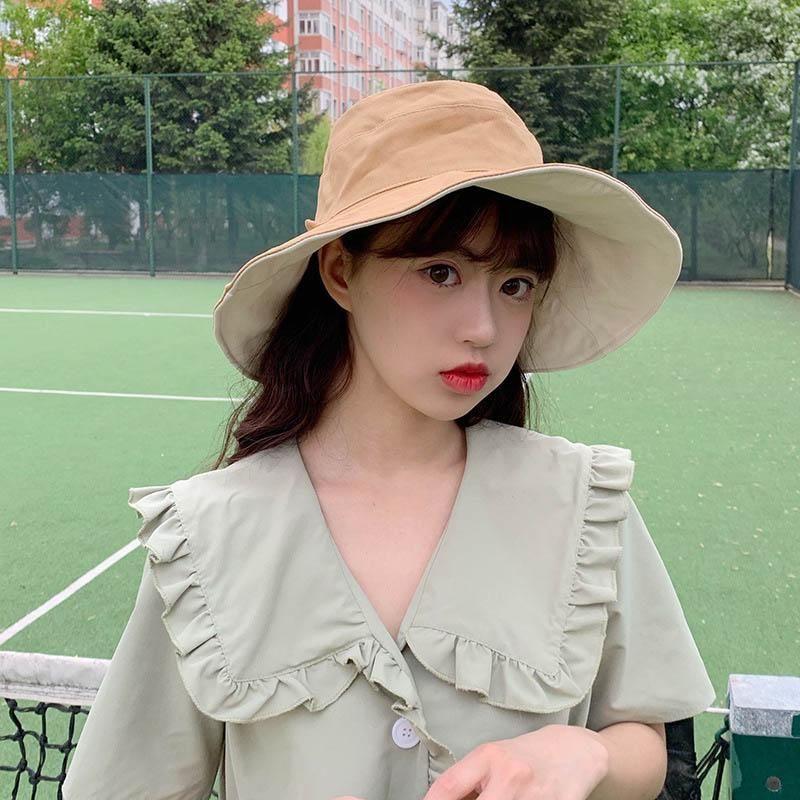 Fashion Summer Protection Cap Womens Big Brim Fisherman Hats Double Side Sun Caps Autumn Casquette Wild Ladies Bucket Hat 2020