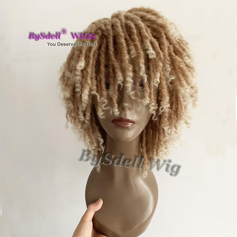 short Faxlock Marley Twist Braid Soft Perm Dread Lock braid wig light afro braid synthetic hair wigs for black women