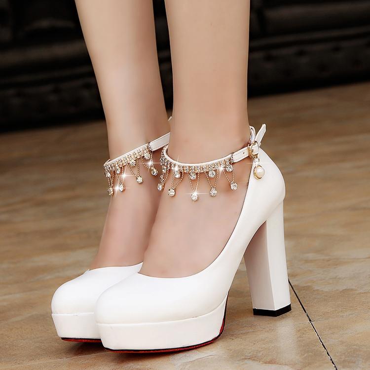 Sapatos Mulheres de noiva Super Salto Alto Bombas de Cordas Bead com tira no tornozelo Plataforma Bomba Sapatos Calçados casamento zapatos mujer 3345