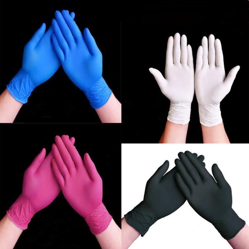 Одноразовые 100 штук черно-синий белый красный оптом резиновые латексные перчатки экспериментируют нитриловые татуировки красоты волосы краситель 52IP
