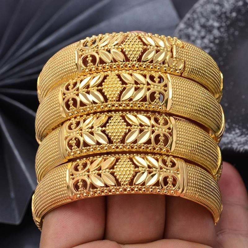 Wando 4pcs / lot Trendy Or Couleur Bangles pour les femmes / fille du Moyen-Orient arabe / Dubai Copper Can Open Bracelets Bijoux Cadeaux Mama