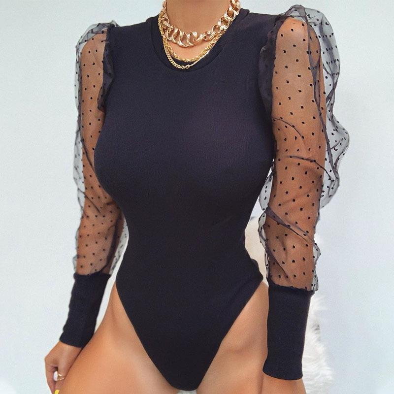 New Fashion Women Bodysuit Bodycon Jumpsuit Romper Leotard Tops Blouse Playsuit Puff Sleeve Drop Shipping Good Quality