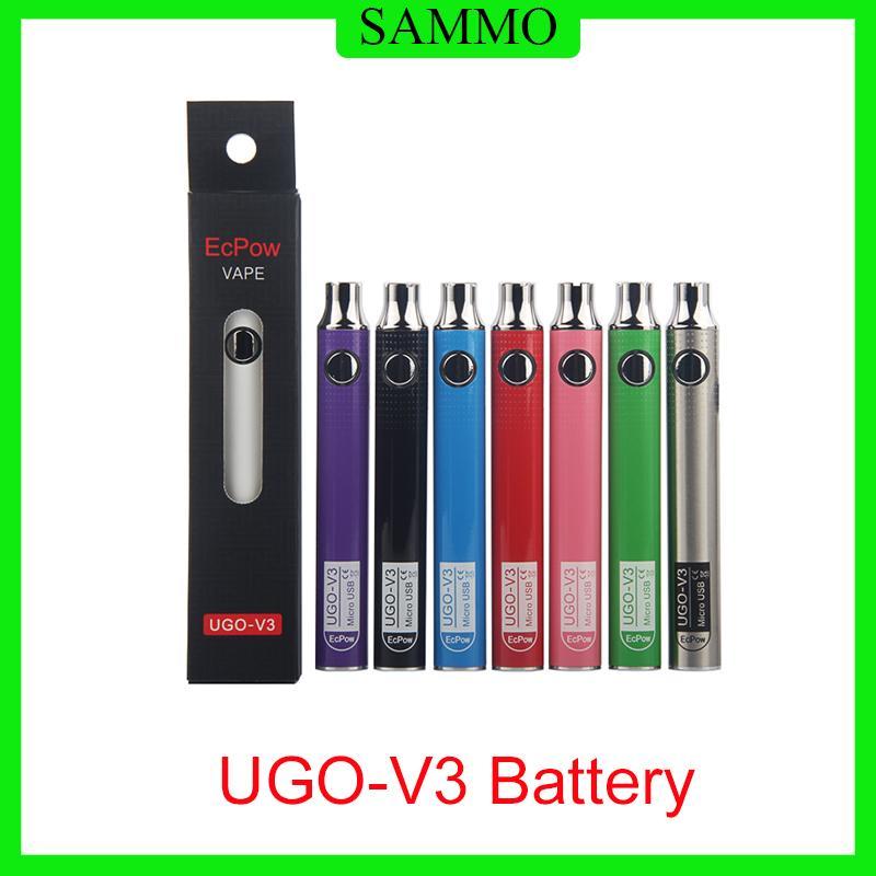 Authentique ECPOW UGO-V3 III Batterie de préchauffage 650MAH 900MAH 510 avec chargeur USB VS Max Vision Spinner II 3S Batterie 0270002