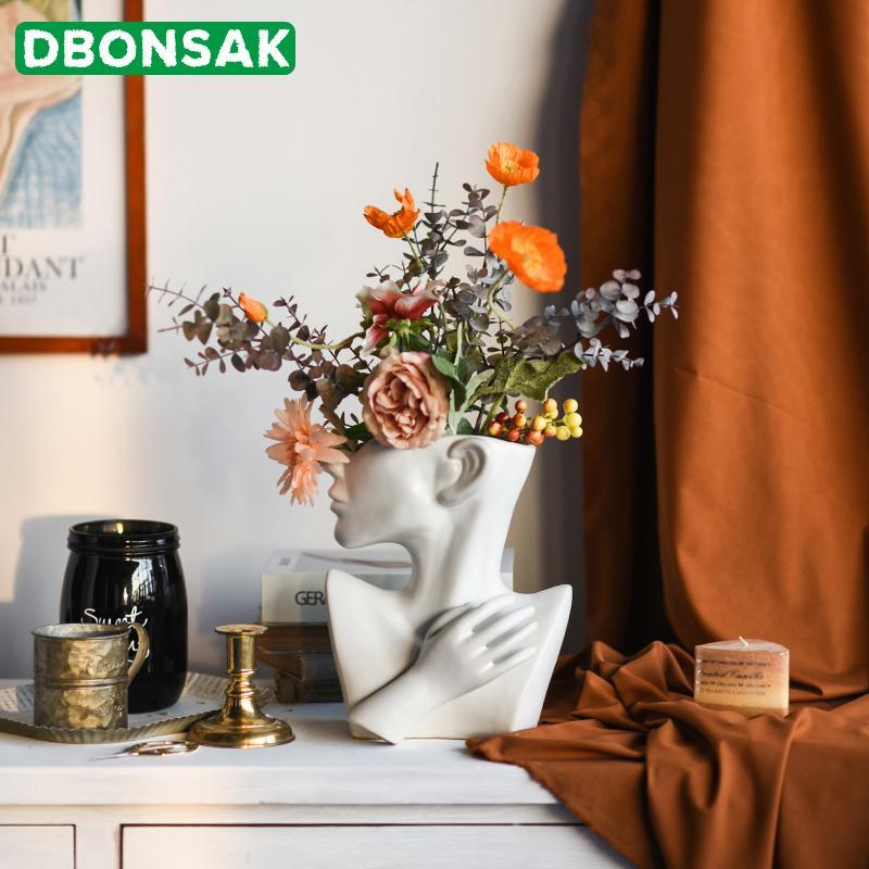 Половина тела человеческого лица Керамический цветочный горшок Портрет Скульптура Украшение сочной Character Vase Цветочная композиция Контейнер Decor C1115