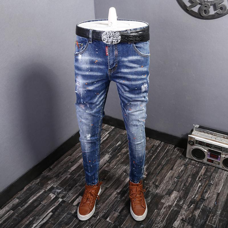 패션 streetwear 남자 청바지 블루 컬러 탄성 슬림 피트 찢어진 면화 데님 바지 옴에 페인트 디자이너 힙합 긴 바지 1