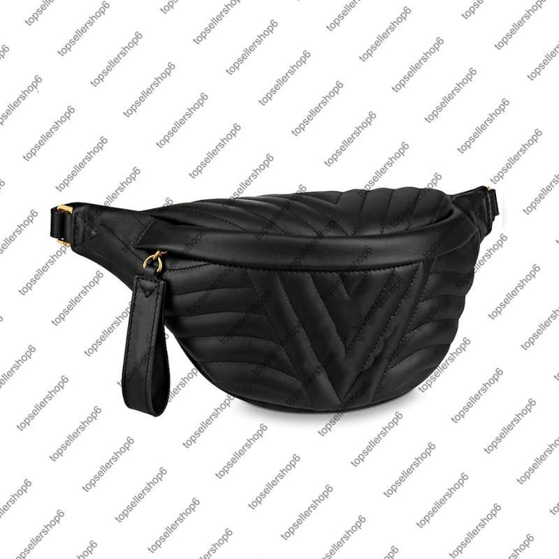 M53750 M53861 Wave Bumbback Männer Frauen Original CALF Leder Schultertasche Geldbörse Kreuzkörper Messenger Bag Taillenpackung