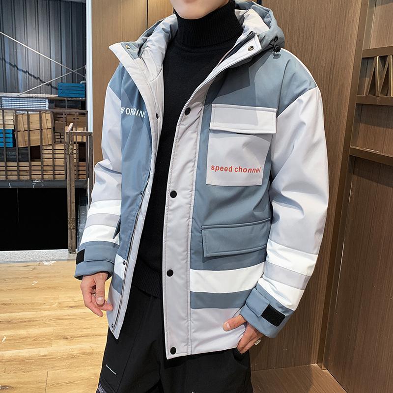 2020 Зимние Корейский моды Лоскутная Multi-Карманы сгущаться Мужские Теплый Parka пальто с капюшоном Ветровки повседневные куртки