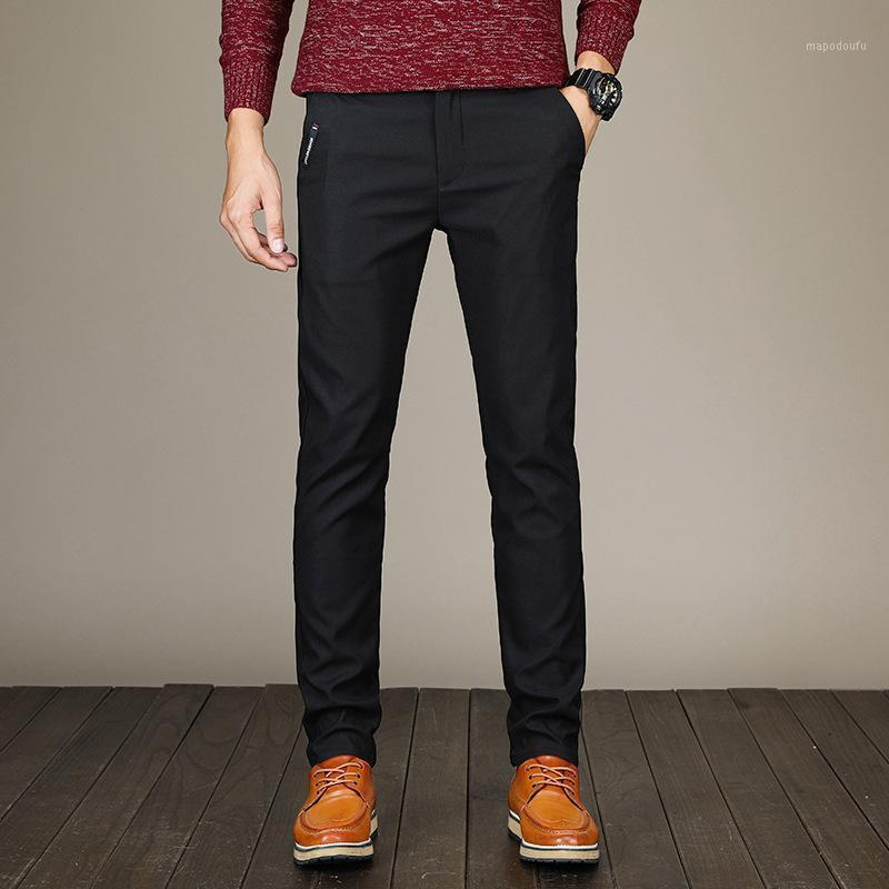 2020 pantalones de primavera hombres moda negocio estiramiento hombres pantalones chinos pantalones de algodón negro casual Pentalon Homme Mens Clothing1