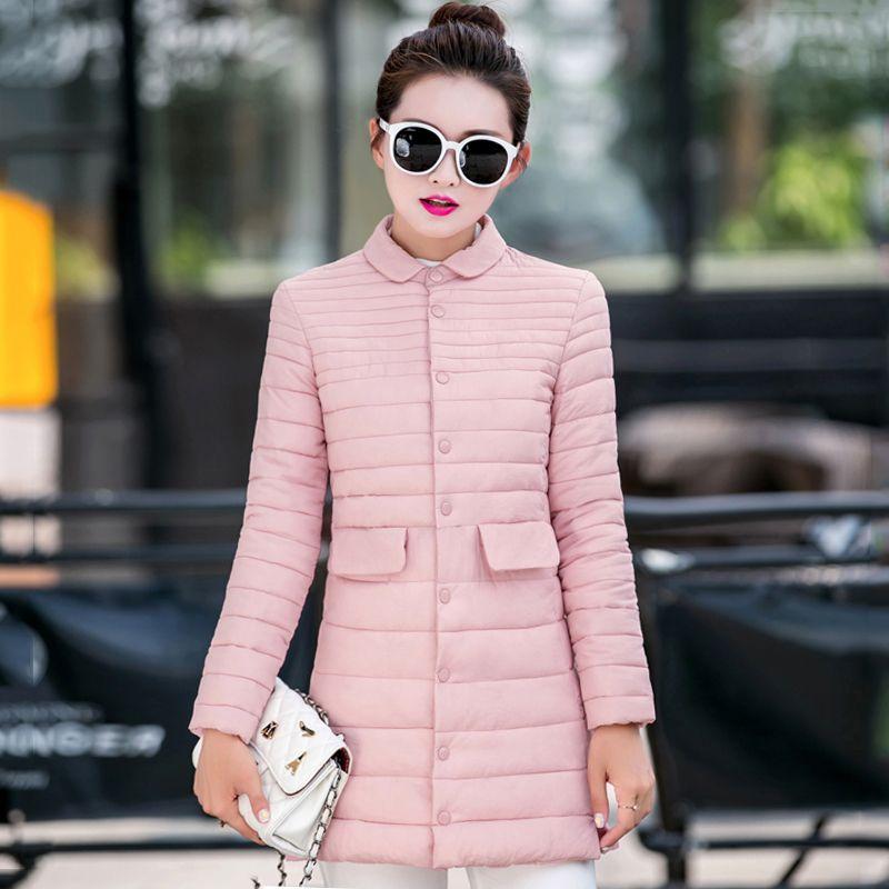 Yeni Tasarım Yaka Kadın Kış Sonbahar Ceket göğüslü Düğmeler Bayanlar Dış Giyim İnce Coat Uzun Parka Katı 201.109 Turn-down
