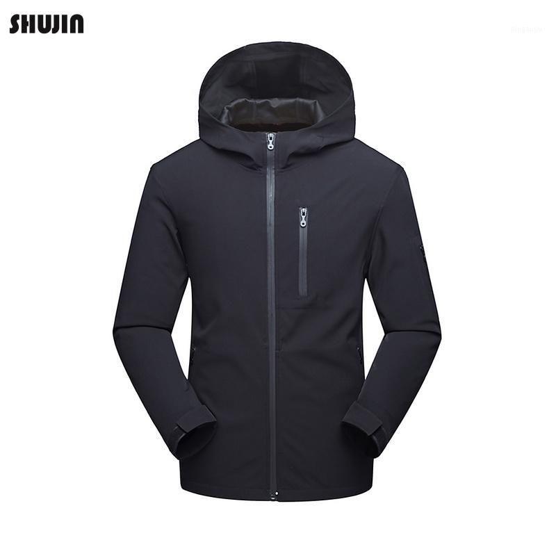 Erkek Ceketler Shujin 2021 erkek Su Geçirmez Rüzgar Geçirmez Uzun Kollu Ceket Softshell Hafif Kapüşonlu Katı Açık Tırmanma Spor