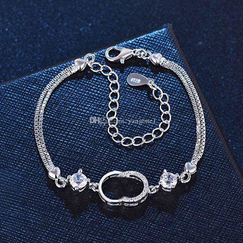 Горячая распродажа мода браслет для женщин шарм браслеты белый фиолетовый кристалл для женского серебра еврей любит вашу букву браслет для женщин подарок