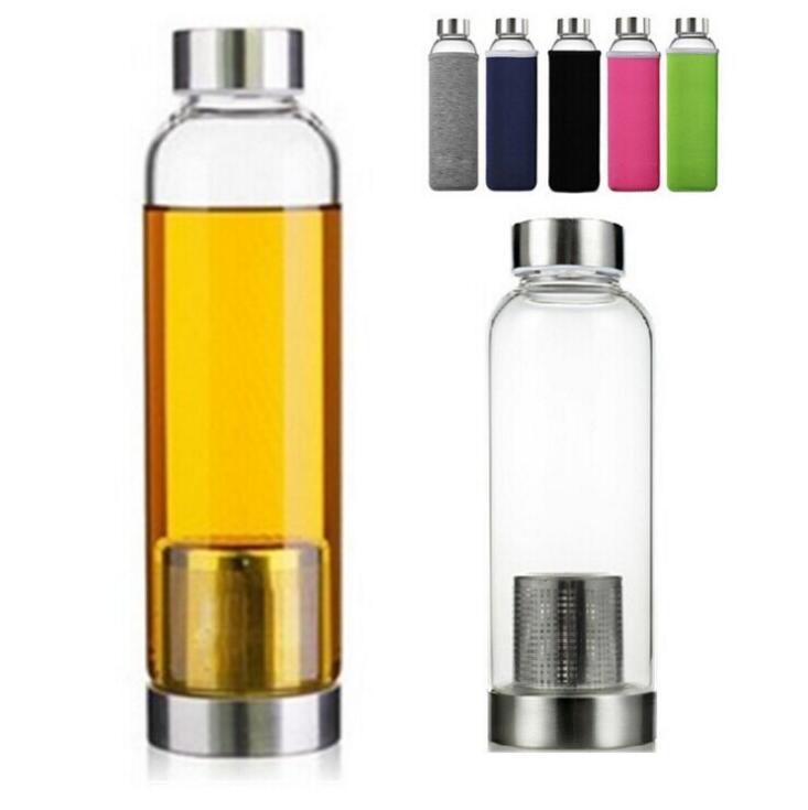 Beständig 22 Unzen Glas Sport-Wasserflasche Bpafree Hochtemperatur Teesieb Flasche kreative Auto-Glas-Schale 5 Farben Cfyz3