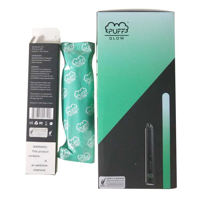 PUFF BAR GLOW descartável Vape Starter Kit 280mAh 300 Puffs 1,4 ml Cartucho Vape Pen Com Código de Segurança LED Light vaporizadores PUFF GLOW