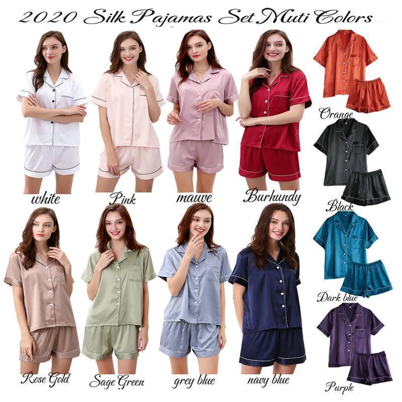 Женские спящие одежды Pajama набор женщин шелковые комплекты сатин Pijama разворотный воротник леди с длинным рукавом весна ночная одежда 2 части наборы1