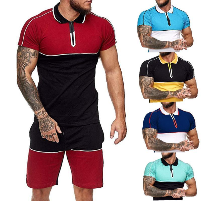 Cross-Border European and American T-shirts Men's Summer Sports Suit Color Matching Casual Fashion Short-Sleeved Men's Clothes