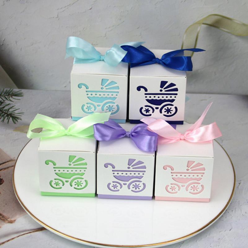 Подарочная упаковка 10/50/100шт. Детская каретка конфеты коробка сладкий контейнер благосклонность и подарки коробки с лентой Душ для баптиз