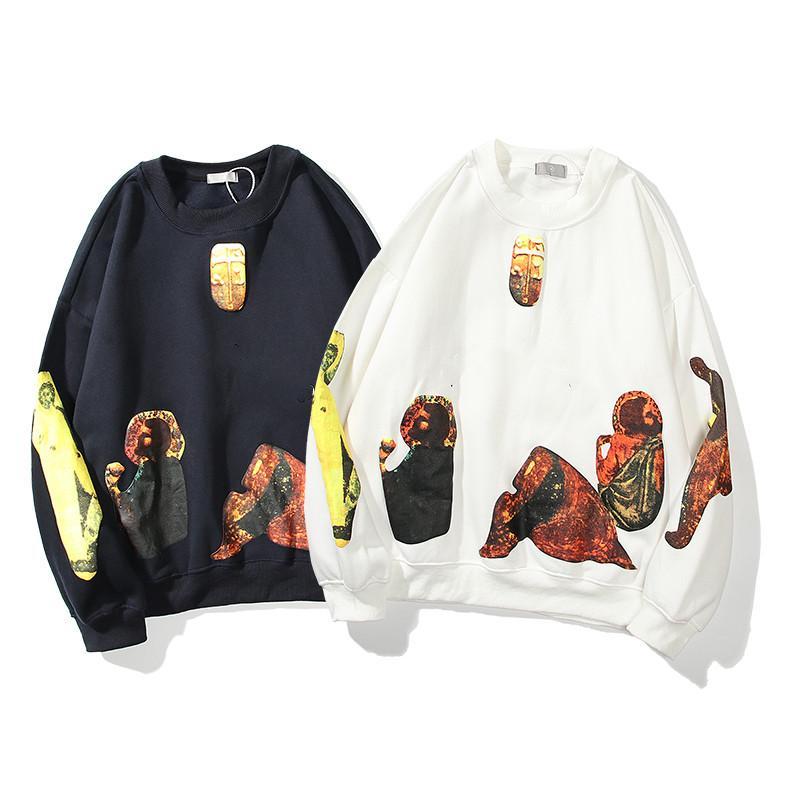 2021 Kanye Men Sudadera Suéter de alta calidad Sudadera con capucha de las mujeres sueltas con la etiqueta Moda Hip Hop letras de manga larga cubierta superior con caja