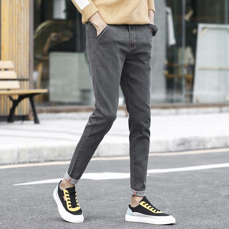 Новые мужские джинсы осенью зимой 2019 персонализированной тенденция SLIM мужских брюк новых джинсы моды и jeansPants и jeanscasual эластичных леггинсов