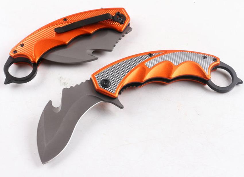 Wysokiej jakości F91 Tactical Folding Nóż 440C Tytan powlekany uchwyt aluminiowy Karambit Claw Noże z detalicznym pudełkiem