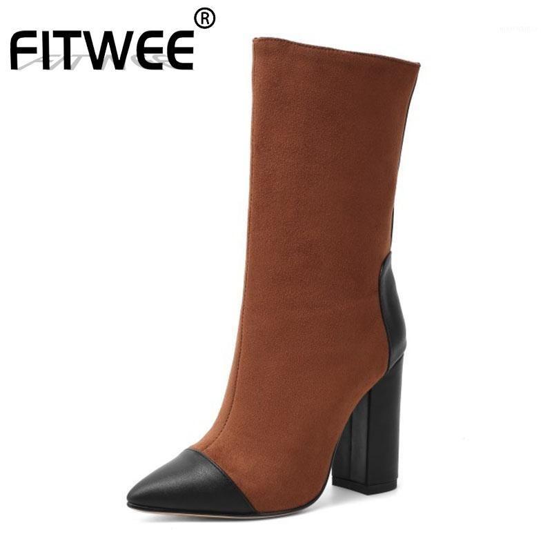 Fitwee جديد إمرأة منتصف العجل الأحذية أزياء مختلطة اللون أشار تو عالية الكعب أحذية الشتاء الدافئة المرأة الأحذية حجم 34-431
