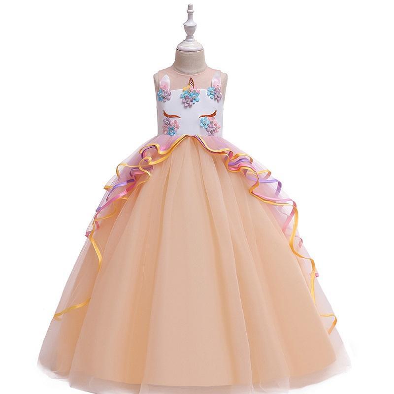 Vestidos de niña Vestido de 4 a 14 años Arco iris Tassel Lindo Tutu Malla sin mangas Disfraz Long Vestidos Llegada 2021 Ropa para niños