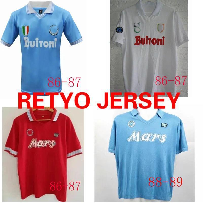 NCAA 1986 1987 evde 19881989 Üst 1991/1993 1987/1988 Napoli Maradona 10 Retro Vintage Özel Jersey Napoli Futbol Üniforması Tayland Ayak