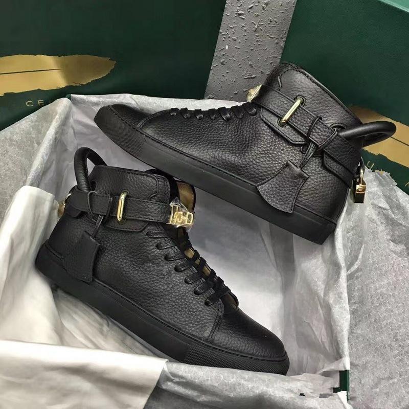 2019 novos moda dos homens fechaduras sapatos Flats Genuine Leather Arena Sapatilhas Esportes Luxo Alto Designer Casual Snekers Tamanho 38-46