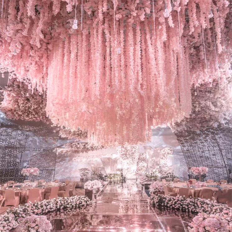 1 متر طويل الاصطناعي الحرير الزهور الوستارية كرمة الروطان 20 ألوان وهمية زهرة الجدول المركزية الزفاف الديكور حديقة جدار زهرة DHD3459