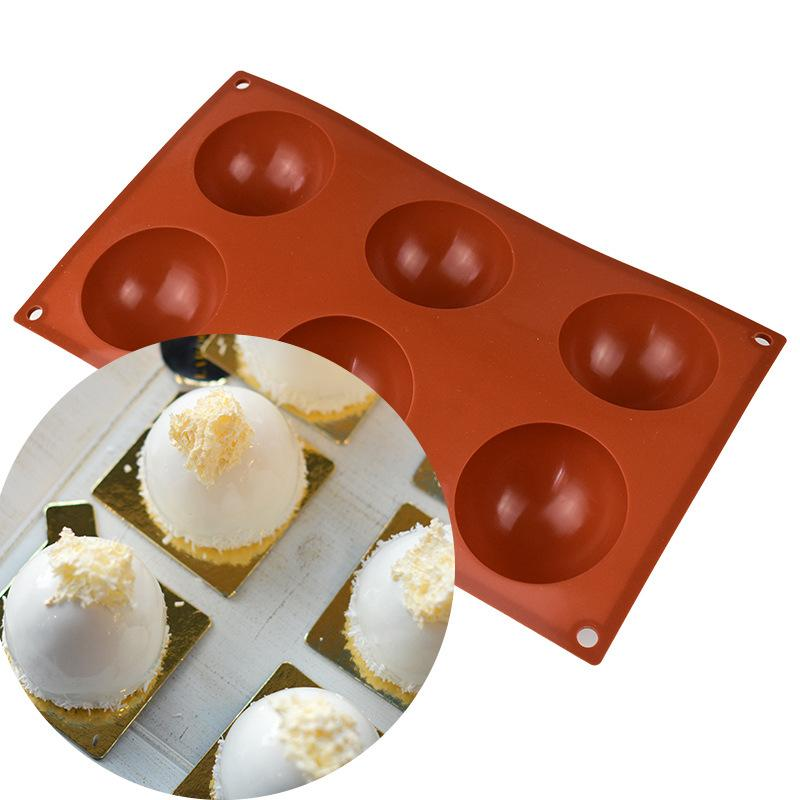 Moule en silicone pour le chocolat, le gâteau, la gelée, le pudding, les moules à bonbons demi-ronds non bâton, BPA Moules de silicone gratuits pour la cuisson WB3228