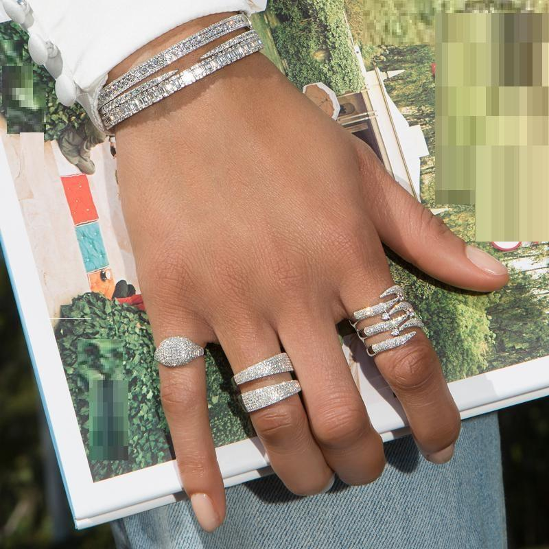 Обручальные кольца блестящие кубический цирконий микропродукты для женщин роскошные обручальные полосы высочайшего качества серебряный цвет CZ ювелирные изделия
