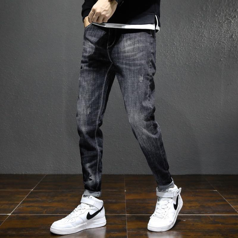 Jeans pour hommes Drop Fashion Tendance Mens Casual Long Long Denim Pantalon Slim Fit pour les garçons Lamassés Pantalons de cow-boys lavés