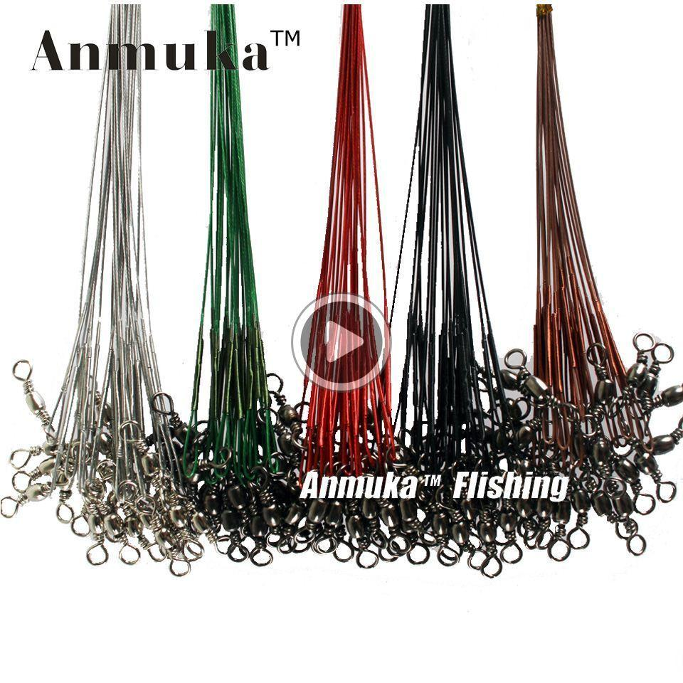 06B7 q0205 Anmuka 10Pcs Fly Fishing lead Line Connector Leader Wire lead line Assortment Sleeve and Stainless Steel Rolling Swivels 12-28cm