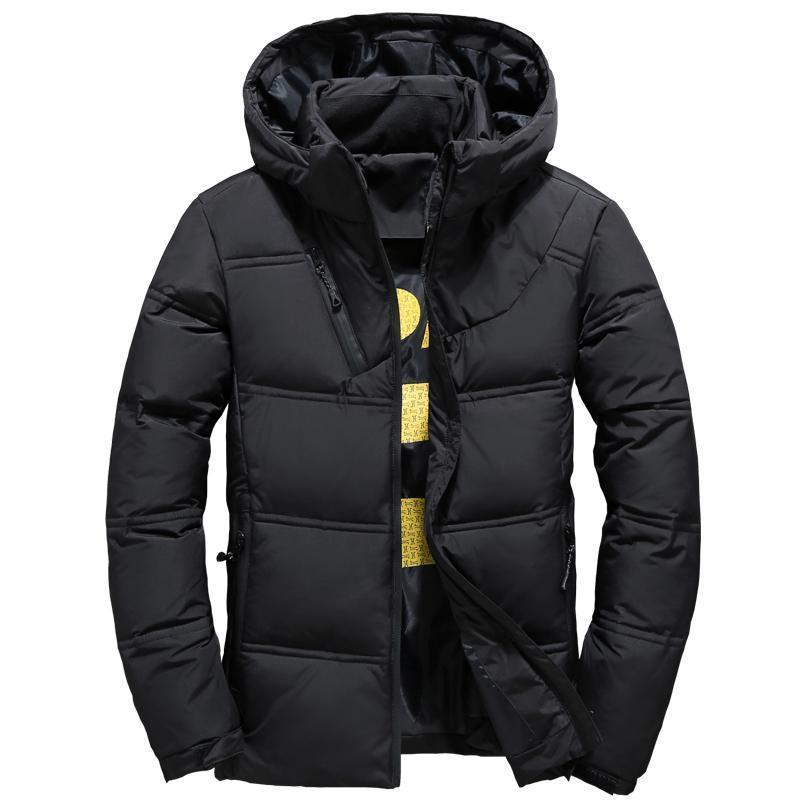 Rüzgar Geçirmez Sıcak Kış Kapüşonlu Ceket Yüksek Kaliteli Akıllı Rahat Beyaz Aşağı Ceket Erkekler Pamuk