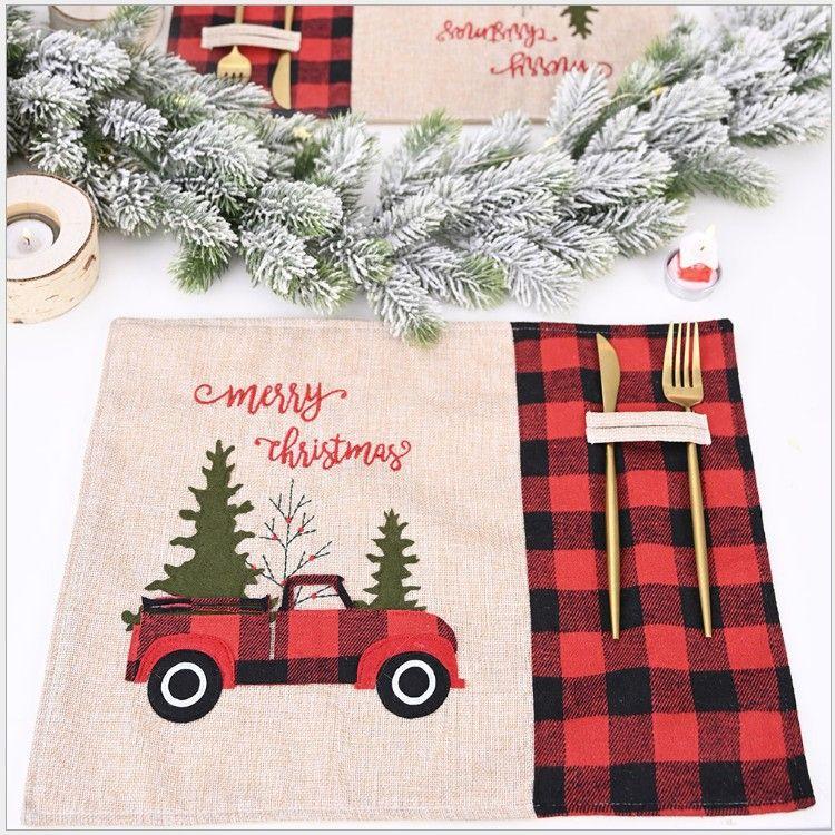 Árvore de Natal Vermelho Caminhão Placemats Mesa Mesa de Inverno Búfalo Placemat Dining Home Decoração de Mesa de Xmas EEA2151