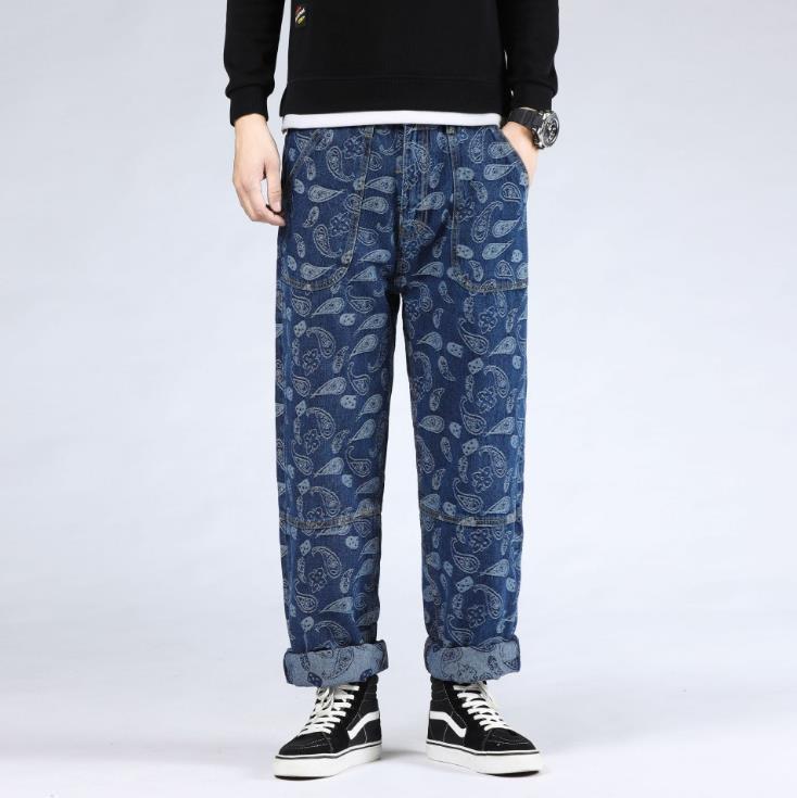 Além disso, Lazer Bottoms Tamanho 46 Jeans Hiphop Mens impressão Hip Hop Baggy Denim Pants Men roupas folgadas calças masculinas