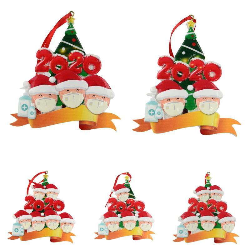 2020 cuarentena Ornamento Negro blanca de la familia de la decoración DIY Nombre de resina Decoraciones de Navidad pandemia Distanciamiento social