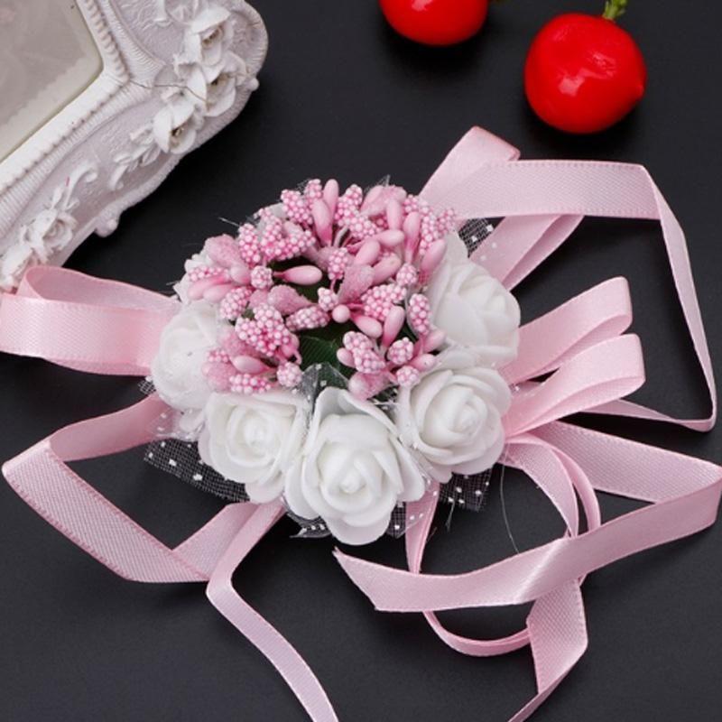 Pulsera de ramillete de muñeca hermosa Hermanas de dama de honor Flores de mano Fiesta de boda B108-1