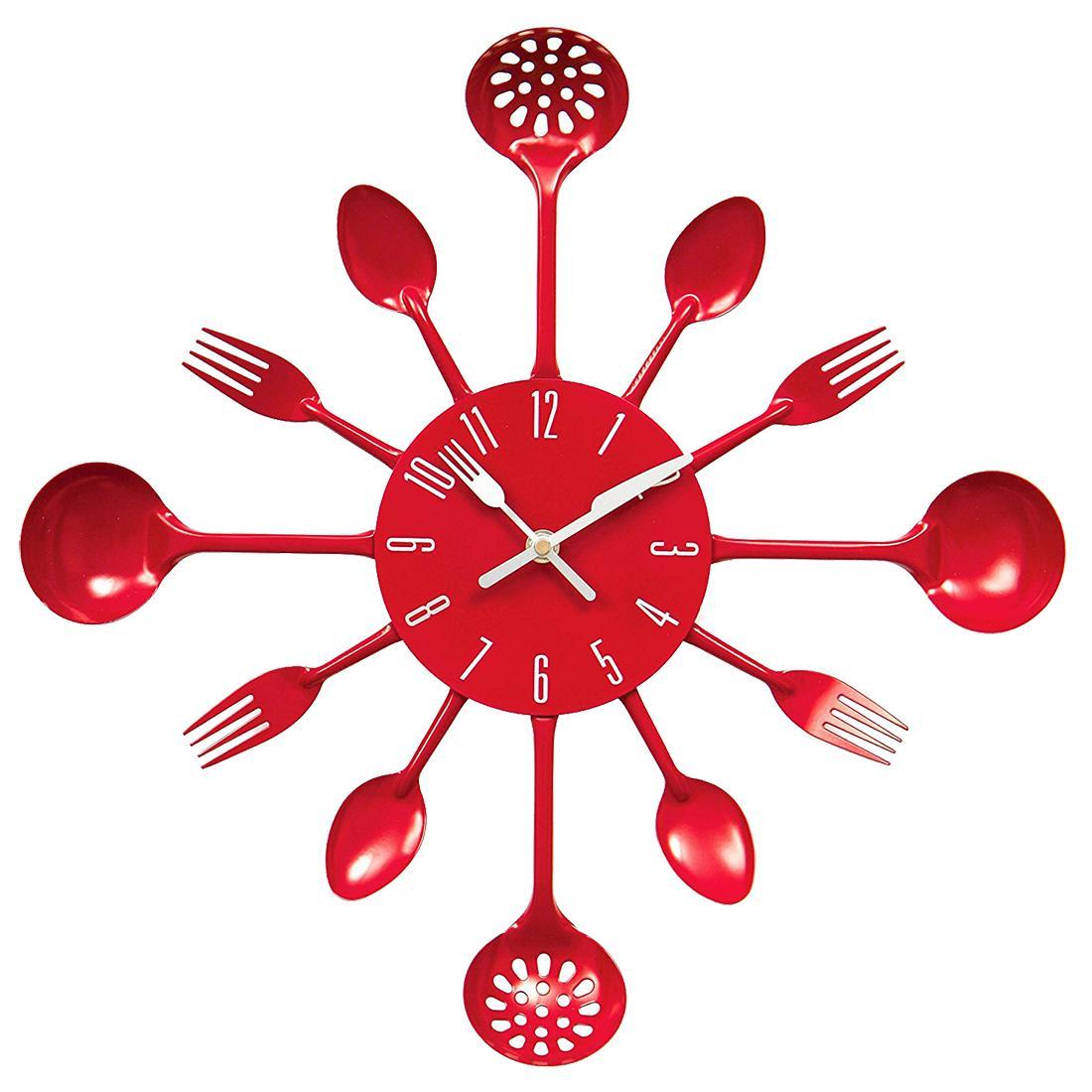 Couverts cuisine en métal Horloge murale fourchette cuillère Creative quartz murale Horloges design moderne décoratif 9 couleurs Horloge murale