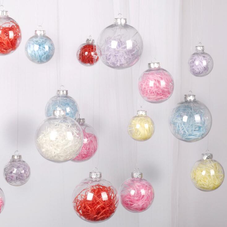 عيد الميلاد الكرة شفافة من البلاستيك الكرة الجوف شفافة كرات الديكور المعلقة فقاعة كرات كاب محل بمول عيد الميلاد الديكور OWA1622