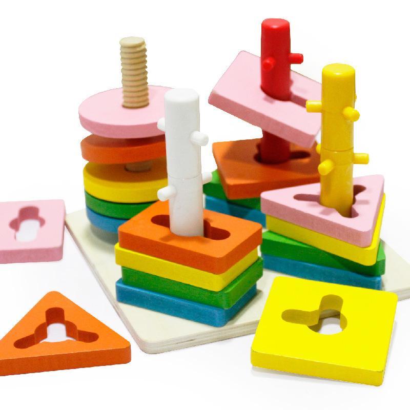 Деревянные сопоставления сопряжения в форме четырех столбцов сопряжение набор на водной основе экологически чистый краска бесплатные монтажные образовательные игрушки