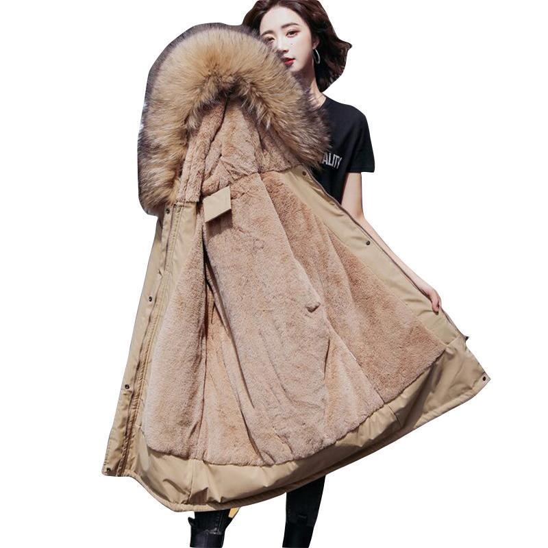 6XL Large Size Winter Coat Women Warm Fur Lining Down Parka Winter Hooded Coat Female Winter Jacket for Women Warm Long Outwear 201014