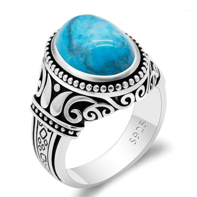 Male Ring 925 Sterling Silver Natural Turquoise Stone Men Rings Retro Turkish Handmade Thai Silver Jewelry to Man Women Gift1